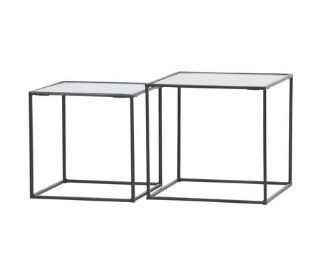 WOOOD Side table Miles black metal glass set of 2 40x40x38cm / 35x35x35cm
