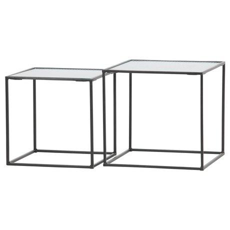 WOOOD Table d'appoint Miles en verre métallique noir, ensemble de 2 40x40x38cm / 35x35x35cm