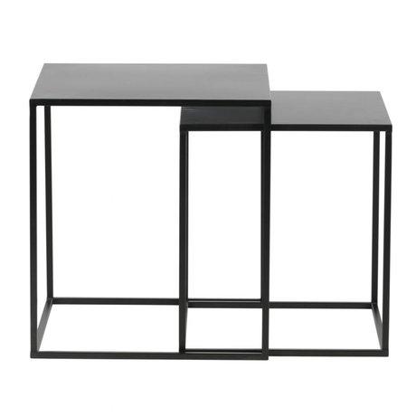 LEF collections Bijzettafel Ziva zwart metaal set van 2 45x45x50cm/40x40x45cm