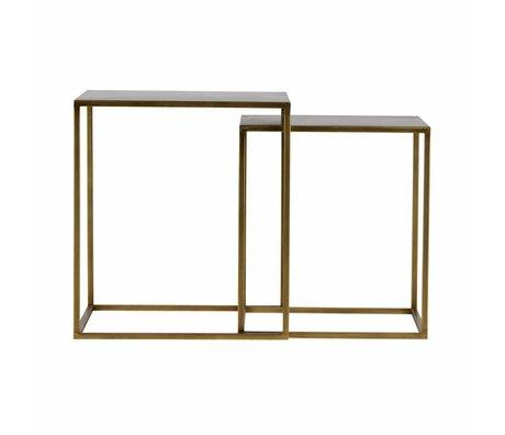 LEF collections Bijzettafel Ziva antiek brass goud metaal set van 2 45x45x50cm/40x40x45cm
