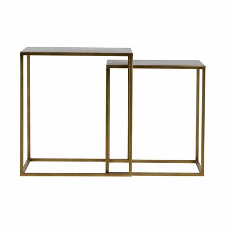 LEF collections Side table Ziva antique brass gold metal set of 2 45x45x50cm / 40x40x45cm