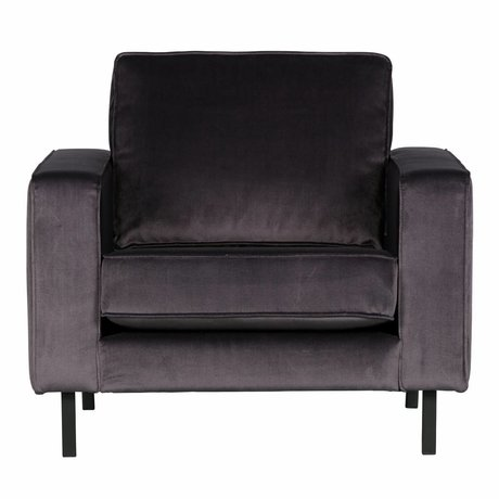 LEF collections Fauteuil Robin velours gris anthracite97x93x80cm