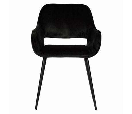 LEF collections Eetkamerstoel Jelle zwart fluweel 60x57x80cm