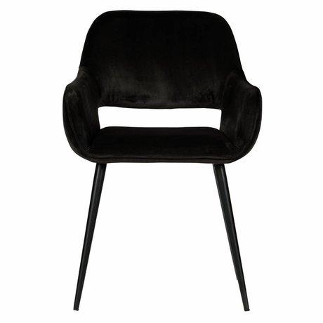 LEF collections Chaise de salle à manger Jelle velours noir set de 2 60x57x80cm