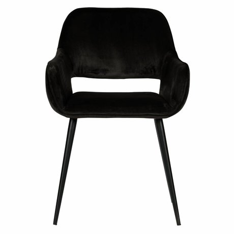 LEF collections Dining room chair Jelle black velvet set of 2 60x57x80cm