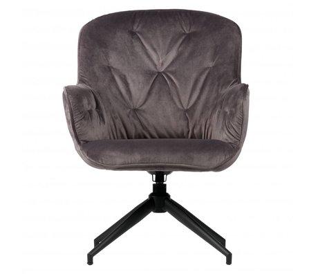 WOOOD Draai fauteuil Elaine antraciet grijs fluweel 66x69x89cm