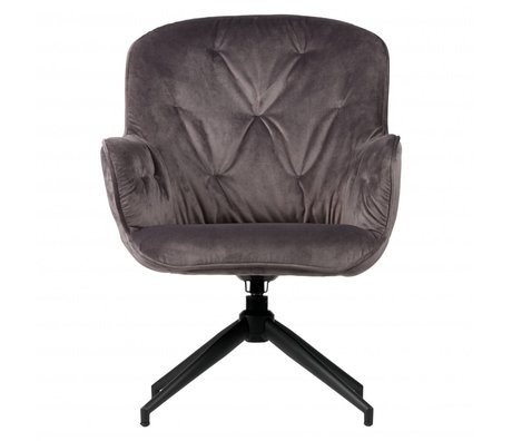 WOOOD Fauteuil Turn Elaine gris anthracite velours 66x69x89cm
