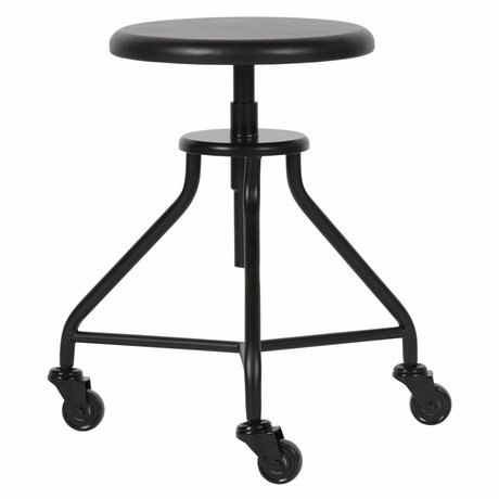 LEF collections Stool Royce black metal wood 43x43x48cm