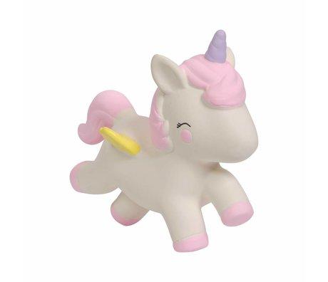 A Little Lovely Company Bijtspeeltje Unicorn natuurlijk rubber 11,7x5,5x10,4cm