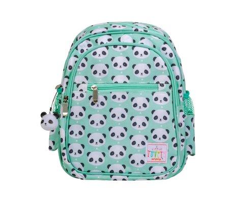 A Little Lovely Company Rugzak Panda mint groen acryl 25x16x32cm