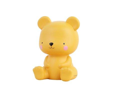 A Little Lovely Company Lampe à poser Ours caramel salé jaune 9,4x9x13cm