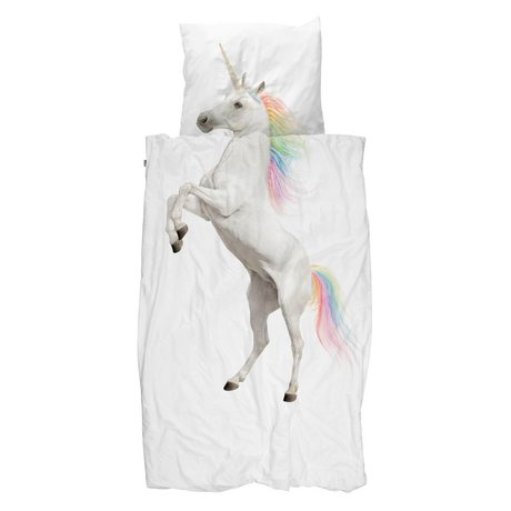 Snurk Beddengoed Dekbedovertrek Unicorn wit katoen 100x140cm - incl. kussensloop 40x60cm