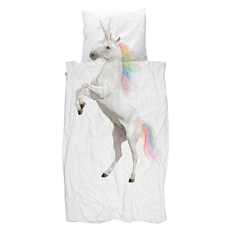 Snurk Beddengoed Housse de couette Licorne en coton blanc 120x150cm - Taie d'oreiller incluse 60x70cm