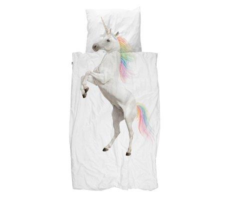 Snurk Beddengoed Housse de couette Licorne en coton blanc 140x200 / 220cm - Taie d'oreiller incluse 60x70cm