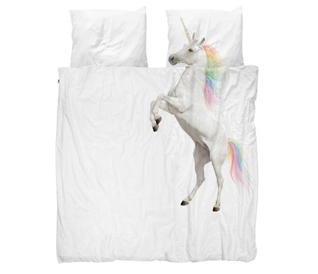 Snurk Beddengoed Dekbedovertrek Unicorn wit katoen 200x200/220cm - incl. kussenslopen 60x70cm