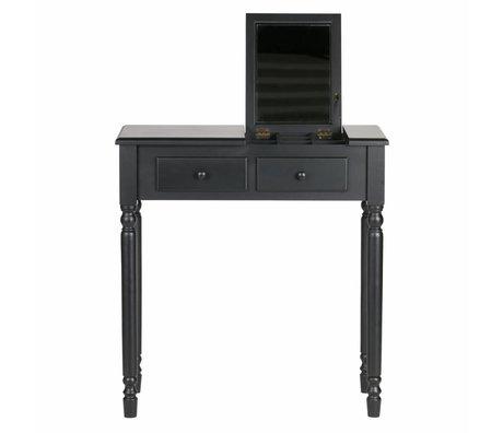 LEF collections Meuble d'entrée / coiffeuse Romy bois noir 75x38x78cm