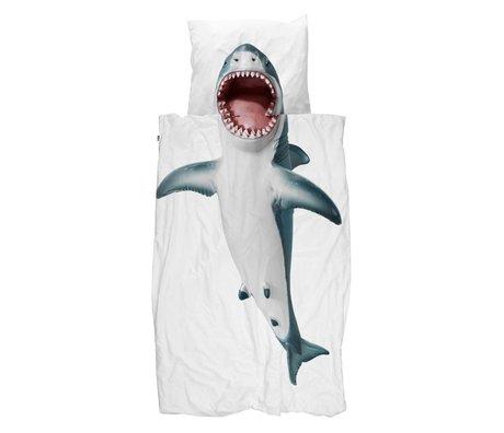 Snurk Beddengoed Housse de couette Shark !! coton blanc 140x200 / 220cm - taie d'oreiller incl 60x70cm