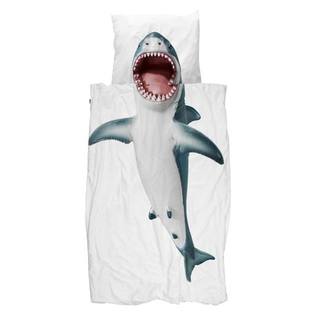 Snurk Beddengoed Duvet cover Shark !! white cotton 140x200 / 220cm - incl pillowcase 60x70cm