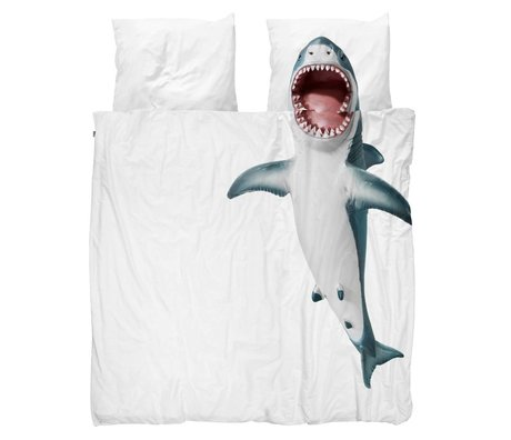 Snurk Beddengoed Duvet cover Shark !! white cotton 200x200 / 220cm - incl. pillowcases 60x70cm