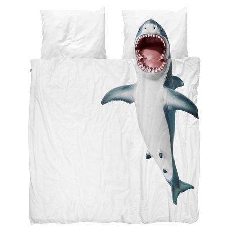 Snurk Beddengoed Bettbezug Hai !! weiße Baumwolle 200x200 / 220cm - inkl. Kissenbezüge 60x70cm