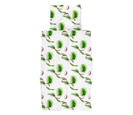Snurk Beddengoed Dekbedovertrek Coconut wit groen katoen 140x200/220cm - incl. kussensloop 60x70cm