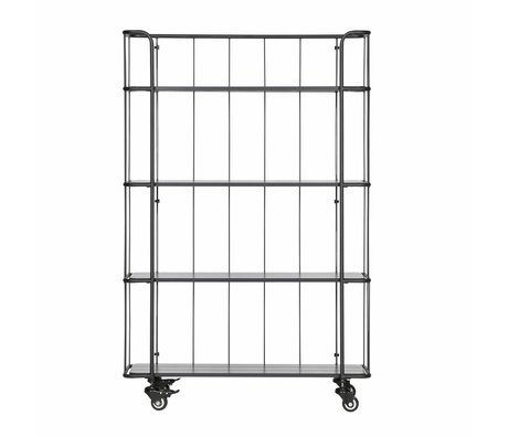LEF collections Trolley Caro hoch mattes schwarzes Metall Holz 94,6x34x144cm
