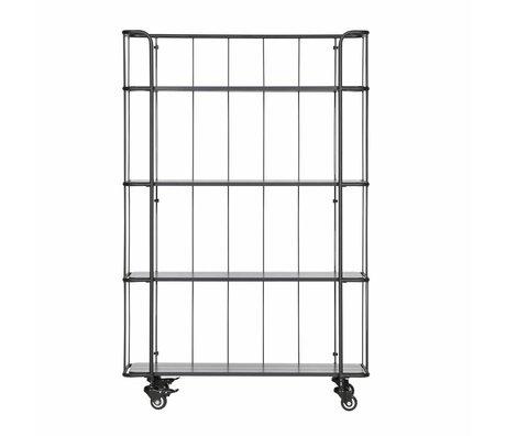 LEF collections Trolley Caro hoog mat zwart metaal hout 94,6x34x144cm