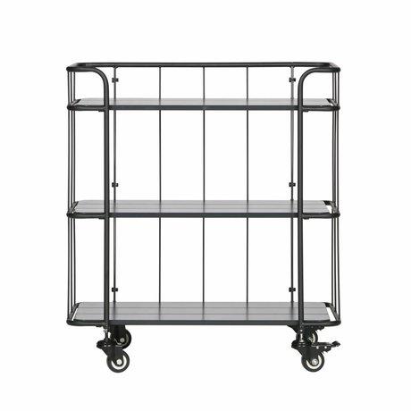 LEF collections Chariot Caro bas mat en métal noir bois 75x42x84cm