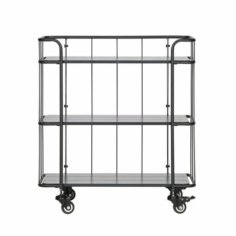 LEF collections Trolley Caro laag mat zwart metaal hout 75x42x84cm