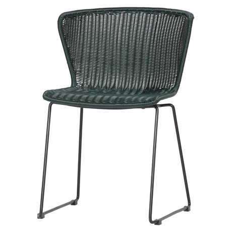 LEF collections Chaise Wings (jardin) bouteille verte set de 2 54,5x54x77,5cm