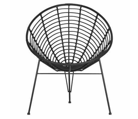 LEF collections Lounge Sessel Jane (Garten) aus schwarzem Kunststoff Metall 72x81x88cm