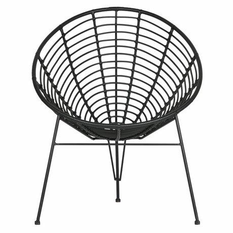 LEF collections Lounge chair Jane (garden) black plastic metal 72x81x88cm
