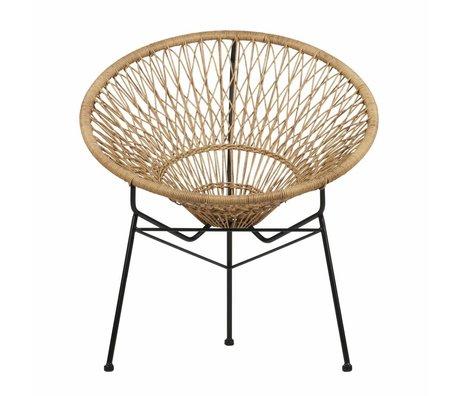 LEF collections Strohoed stoel (tuin) bruin zwart kunststof metaal 72x67x79cm