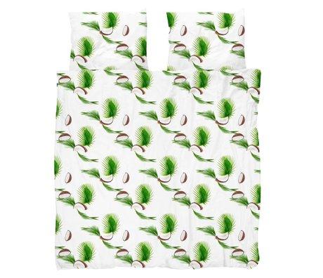 Snurk Beddengoed Enveloppe de couette Noix de coco blanche en coton vert 200x200 / 220cm - Taie d'oreiller incluse 60x70cm