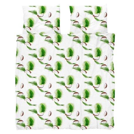 Snurk Beddengoed Dekbedovertrek Coconut wit groen katoen 260x200/220cm - incl. kussenslopen 60x70cm