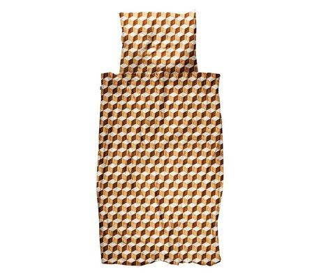 Snurk Beddengoed Bettbezug Holzwürfel braun weiße Baumwolle 140x200 / 220cm - inkl. Kissenbezug 60x70cm