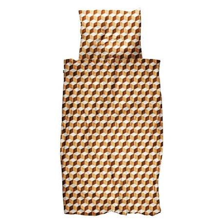 Snurk Beddengoed Housse de couette Cubes en bois, coton blanc et brun, 140x200 / 220cm - Taie d'oreiller incluse 60x70cm