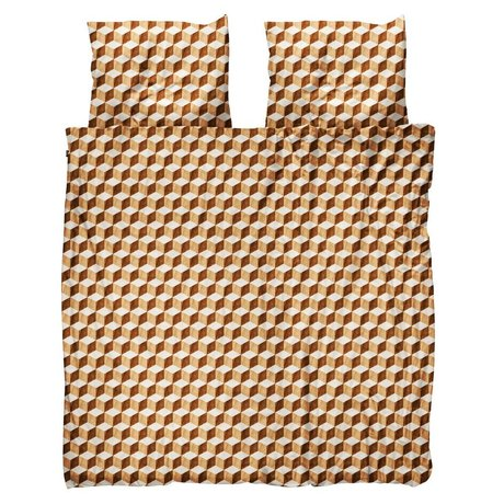 Snurk Beddengoed Housse de couette Cubes en bois brun coton blanc 200x200 / 220cm - avec taies d'oreiller 60x70cm