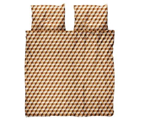 Snurk Beddengoed Duvet cover Wooden Cubes brown white cotton 260x200 / 220cm - incl. Pillowcases 60x70cm