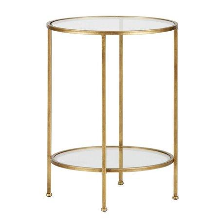 BePureHome Table d'appoint Déesse laiton antique en métal doré 61x45,5x45,5cm dégâts