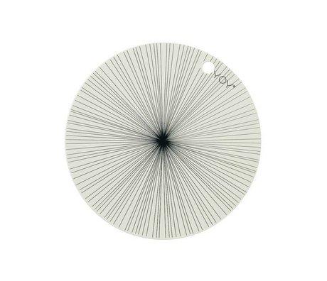 OYOY Placemat gebroken wit zwart sillecone set van vier 39x0,15cm schade