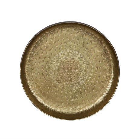 BePureHome Tablett Kleine Kellnerin Messing Gold Metall 5,5xØ30cm Schaden