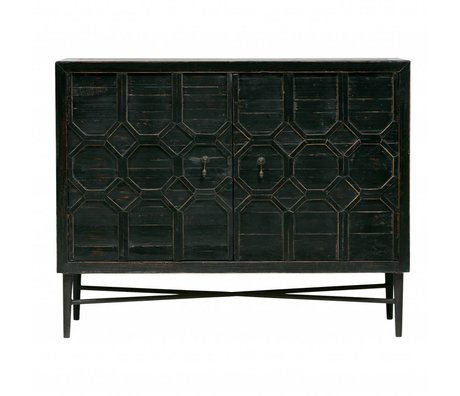 BePureHome Armoire Legs 2 portes bois noir métal 109x50x86cm