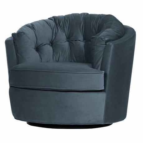 BePureHome Pivot armchair Carousel steel blue velvet 87x88x76cm