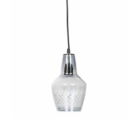 BePureHome Lampe suspendue Graver petit verre gris 15x24cm