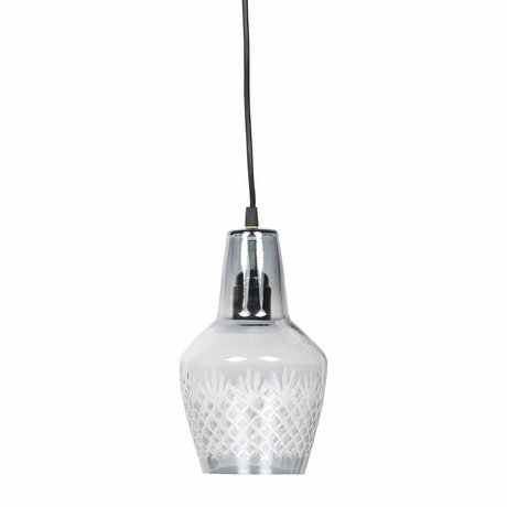 BePureHome Hanging lamp Engrave small gray glass 15x24cm