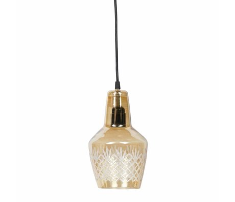 BePureHome Hanging lamp Engrave small antique brass gold glass 15x24cm