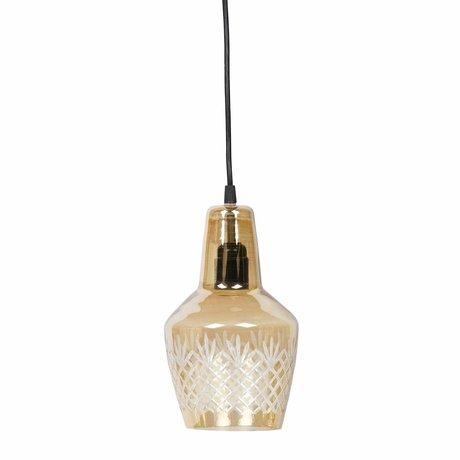 BePureHome Lampe suspendue graver laiton antique doré verre doré 15x24cm