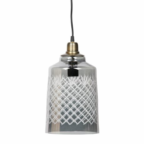 BePureHome Hanging lamp Engrave large gray glass 19x33cm