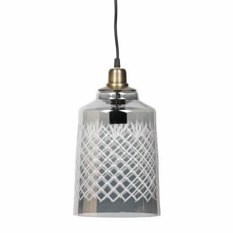 BePureHome Lampe suspendue Graver grand verre gris 19x33cm